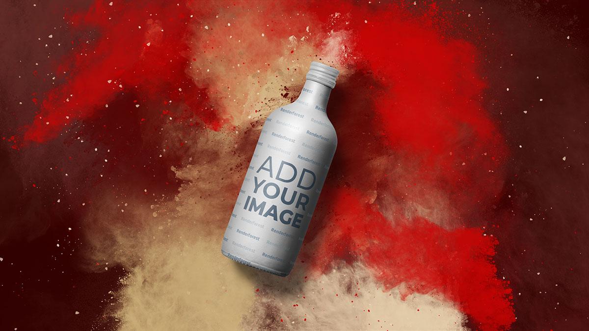Wodka-Flasche vor farbenfrohem, rauchigem Hintergrund