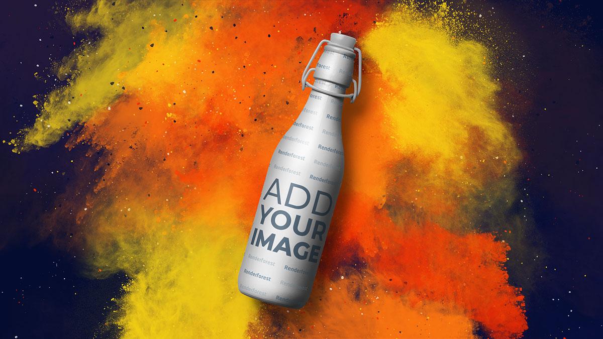 Bierflasche vor farbenfrohem, rauchigem Hintergrund
