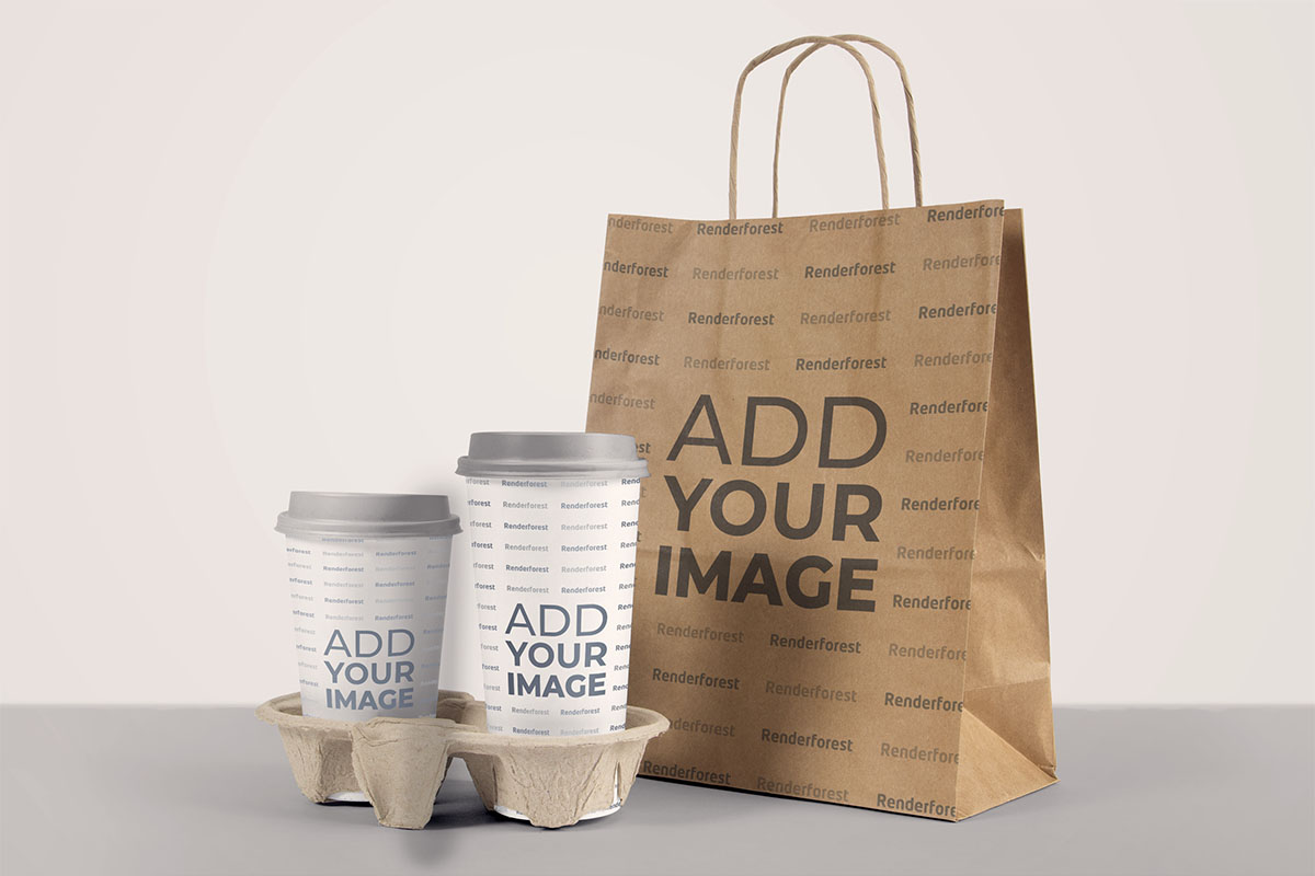 Paper Bag with Two Paper Coffee Cups