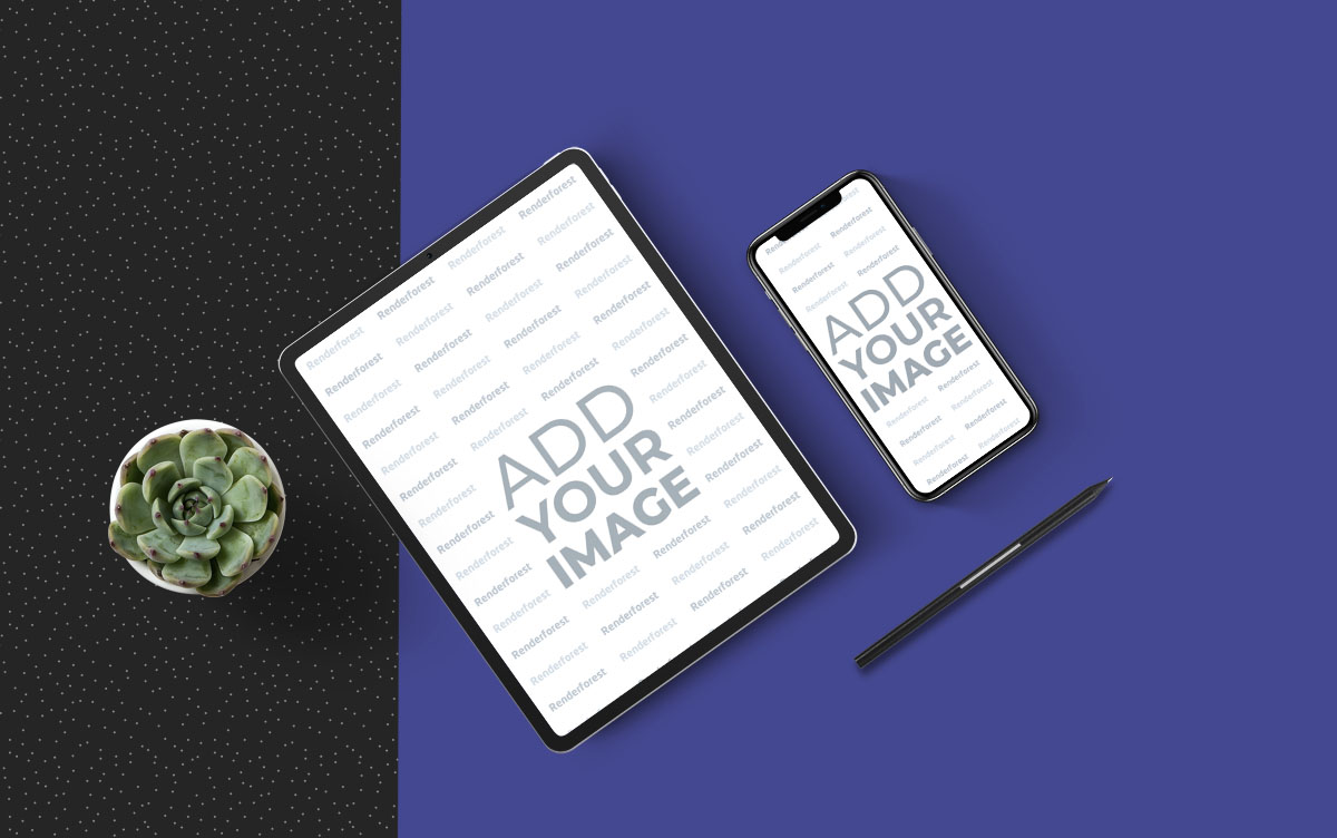 iPad and iPhone on a Patterned Background